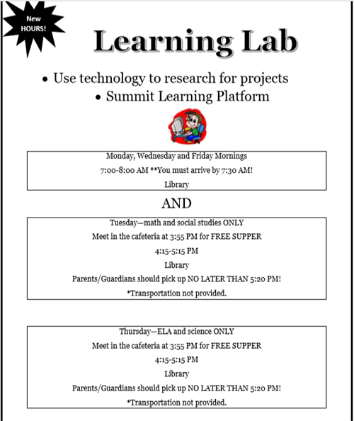 Learning Lab New Hours