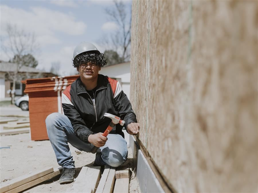 Jefferson Student at Habitat for Humanity Construction Site