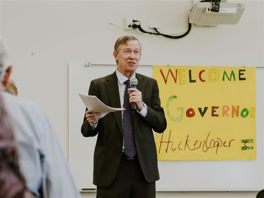 Governor John Hickenlooper Visits Prairie Heights Middle School