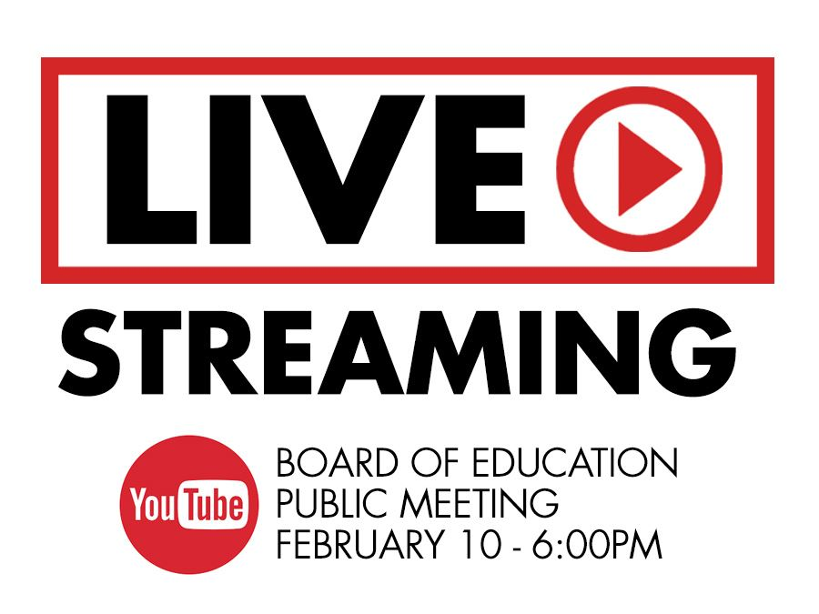 Board of Education Livestream Graphic February 10