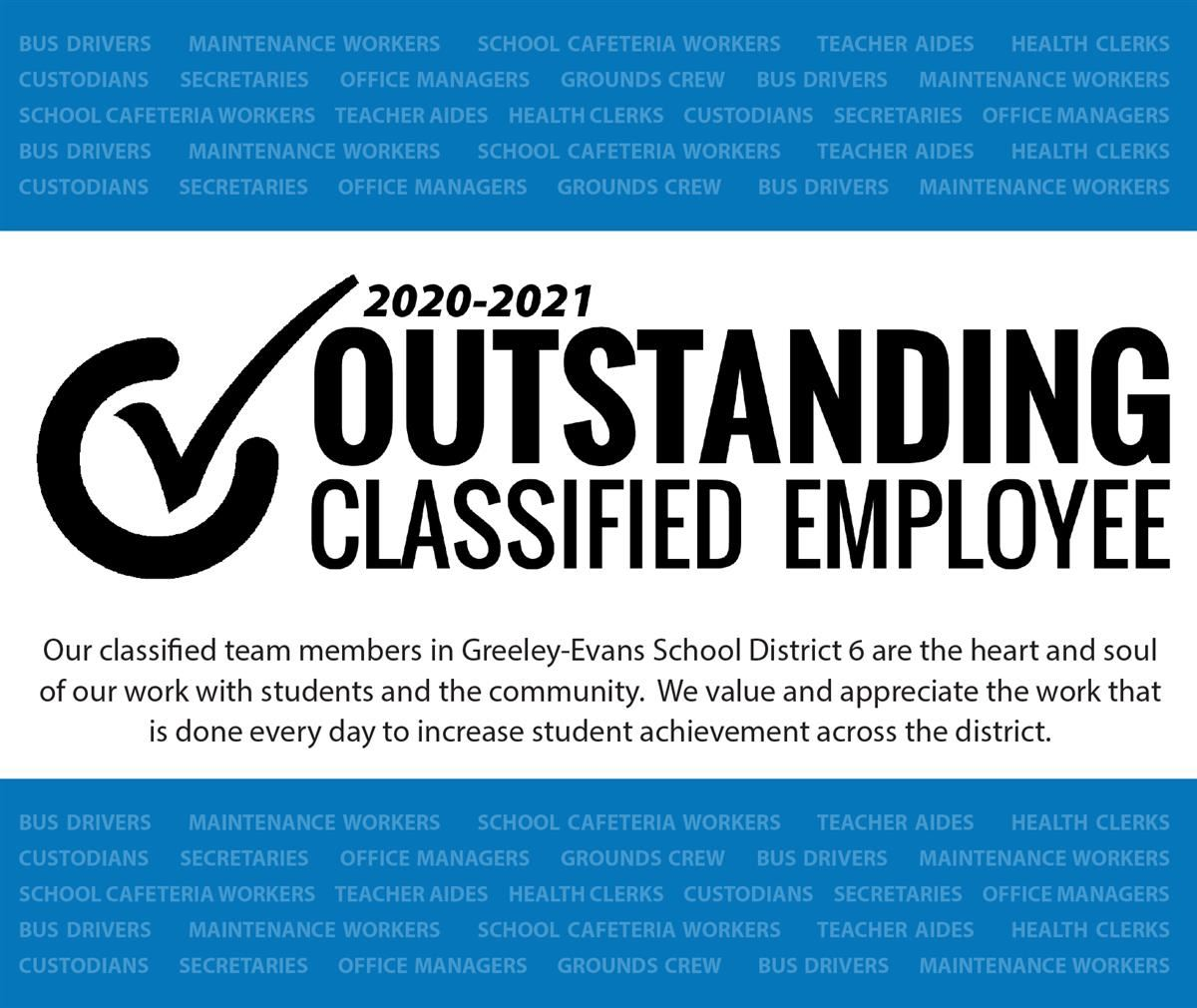 Outstanding Classified Employee 2020-2021 Header Graphic