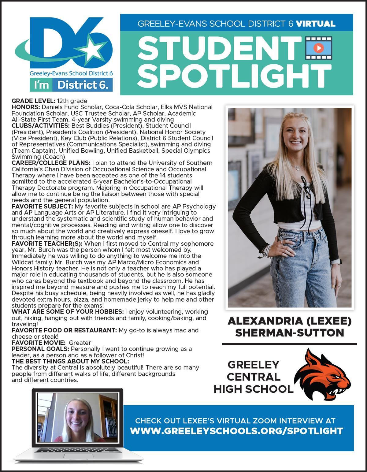 Student Spotlight Lexee Sherman-Sutton Infographic 2021