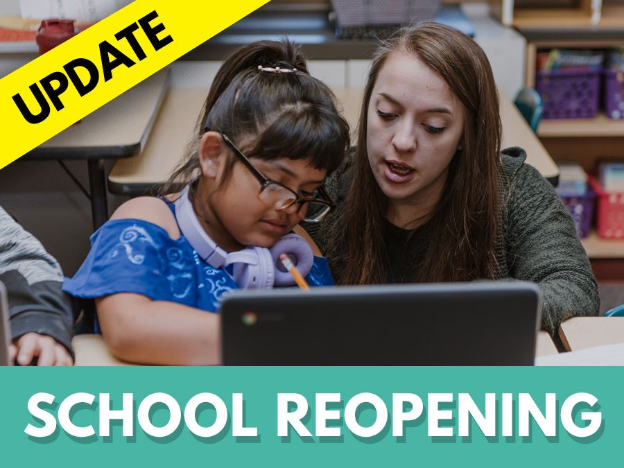 School reopening headline graphic student and teacher looking at laptop