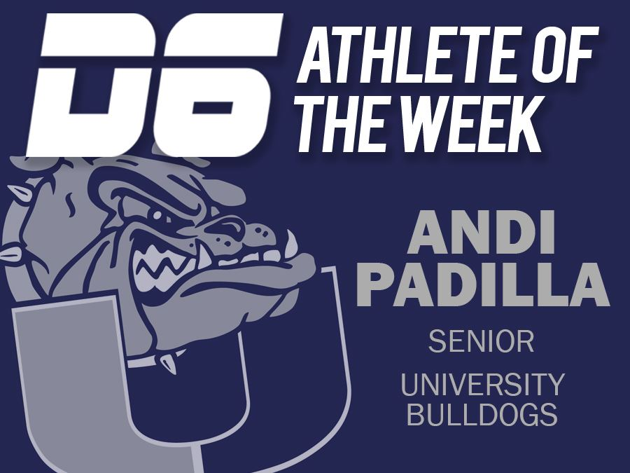 D6 Athlete of the Week Andi Padilla website Headline graphic
