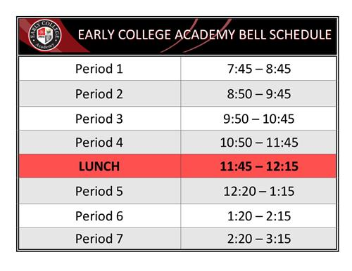 ECA Bell Schedule call 348-5800 for more information