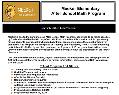 After School Math Program Information