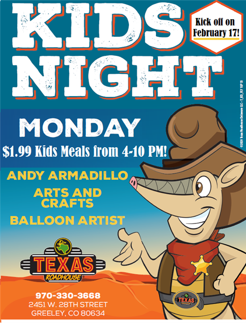 Texas Roadhouse Kids Night Promotional Flyer